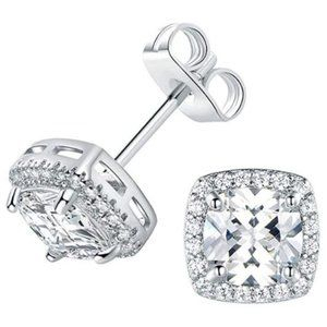 18K White Gold Plated Square Cubic Zircon 6mm Stud